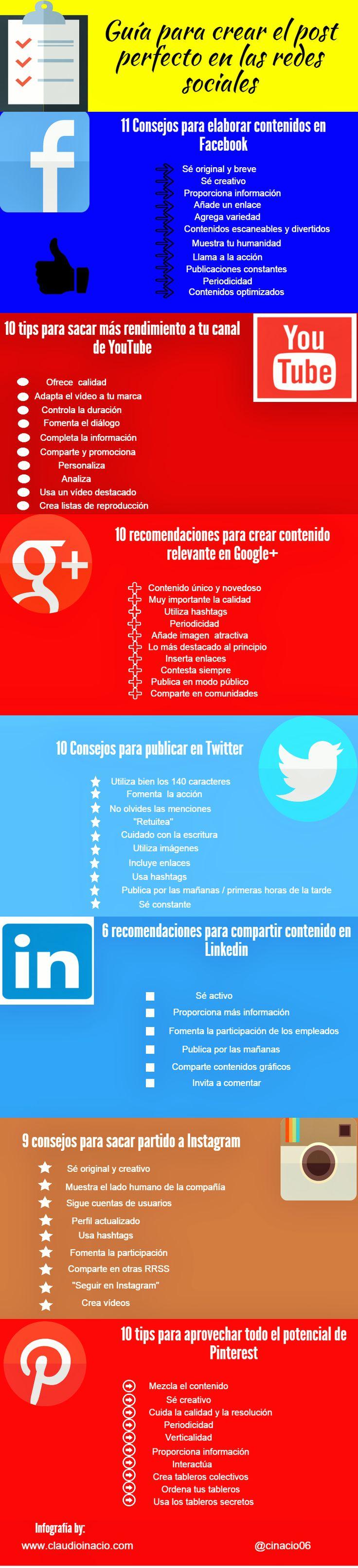 Guía para crear el post perfecto en redes sociales. Infografía en español. #CommunityManager