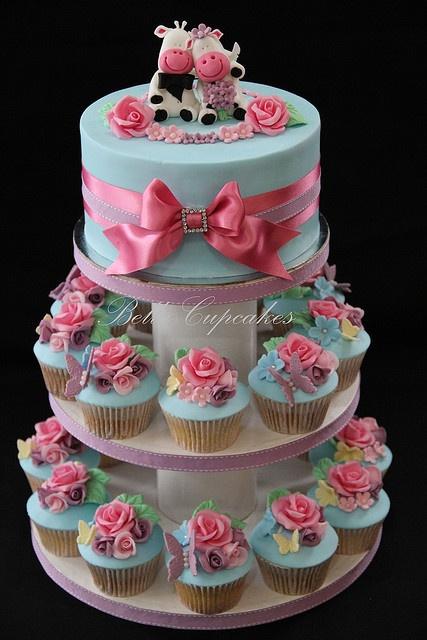 Shabby chic wedding cupcake tower