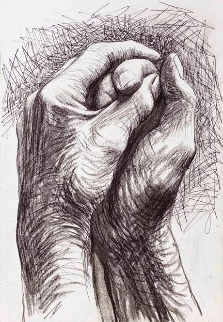 Sir John Lawes Art Faculty: The hands symbolise being together yet could be pulled apart at any time. I love the sketchy effect of this drawing