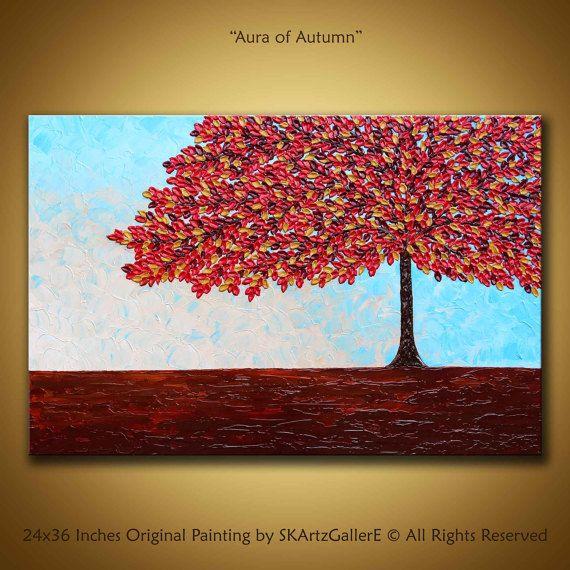 Rojo pintura Original de arte abstracto pintura contemporánea