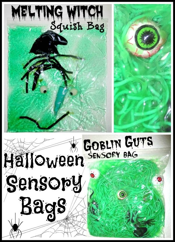 Halloween sensory bags = frugal FUN!  These would be great to have out at a party too!