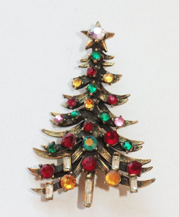 463ffbd7c Hollycraft Rhinestone Christmas Tree Pin Brooch Vintage 1950s in ...