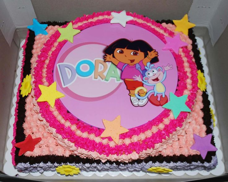 Cake Designs Dora The Explorer : Two-tier Dora the Explorer Birthday Cake... FOOD/KIDS ...