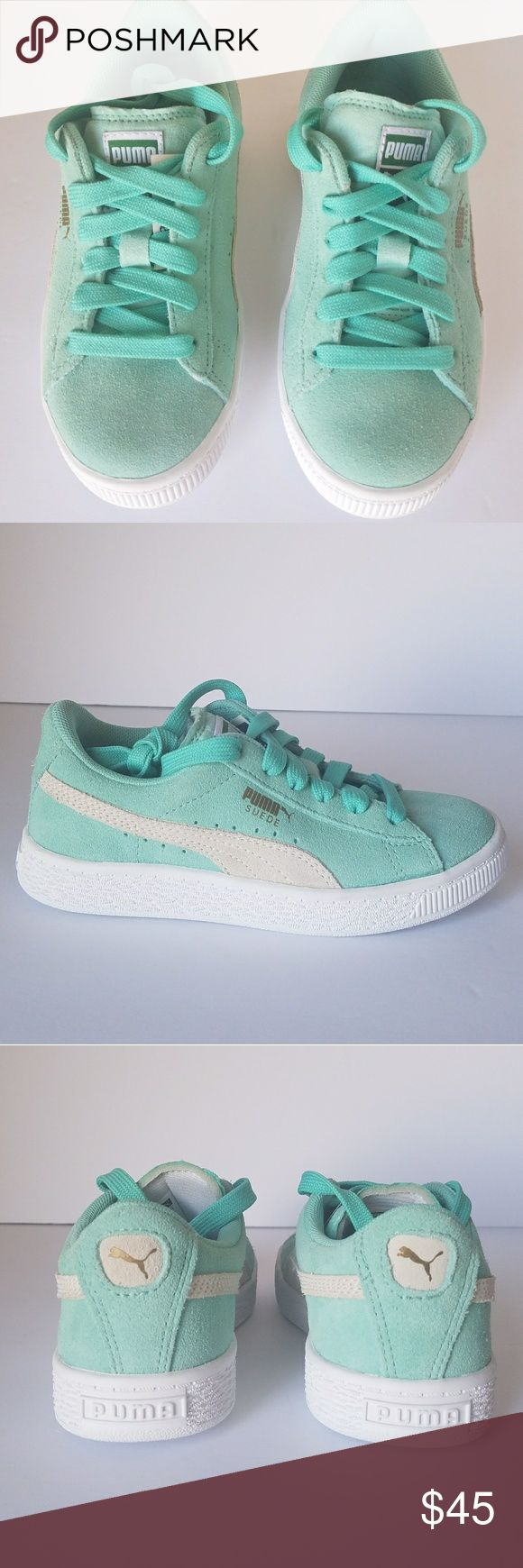 PUMA junior Girl Athletic Shoes Suede 1C 36075788 PUMA Junior Girl Athletic Shoes Suede Green Mint Grade School 36075788 1C 19cm   PUMA Junior Girls' SUEDE JR Shoes  Manufacturer #:36075788  Color:Green Mint  Size: 1C US (19 cm)  MSRP: $55.00  Suede upper with perforated detailing atmidfoot. Laceclosure for a snugfit. RemovableKinder-Fit® sockliner and cushioned midsole for optimum comfort. Non-marking rubber outsole for added grip. PUMA Formstrip at medial and lateral sides…