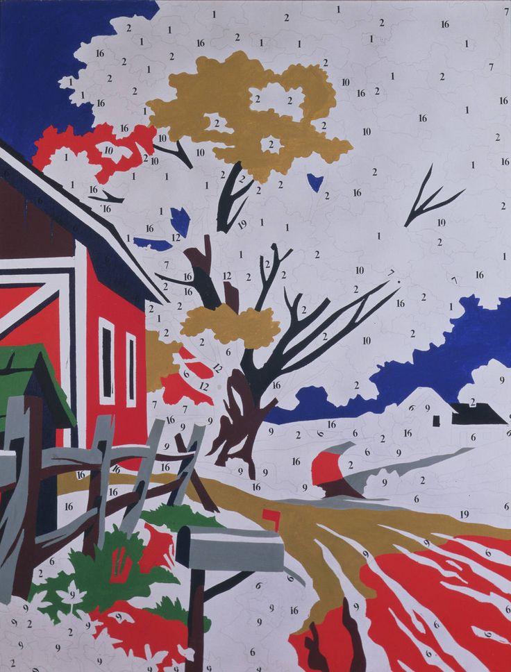 """""""Hazlo tu mismo"""" (1962). ANDY WARHOL (1928 - 1987), artista POP norteamericano. Con esta plantilla numerada para un paisaje, el artista elimina todo simbolismo y subjetividad ante la obra de arte, lo cual no debe extrañarnos pues Warhol siempre expresó su renuncia a un compromiso emocional con sus obras ..."""