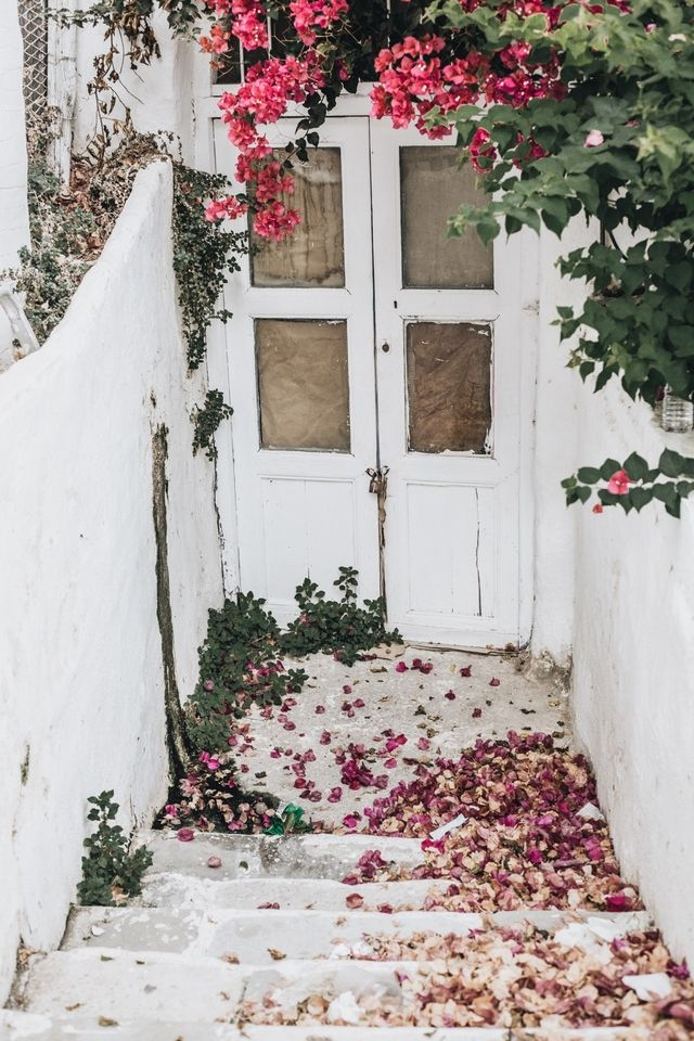 Love this shabby chic flower-strewn door. & 6114 best .: D O O R :. images on Pinterest | The doors Entryway ...