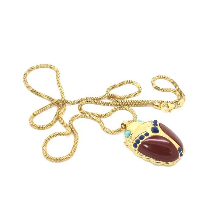Large Red Jasper Scarab Gold Necklace by Amanda Marcucci