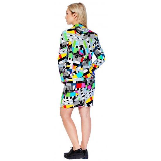 Getailleerd mantelpakje voor dames met een all-over testbeeld print. Het mantelpakje bestaat uit een gevoerde blazer en een rok met elastiek in de taille voor een optimale pasvorm en een rits op de achterzijde. Zowel de blazer als rok hebben een split aan de achterzijde. Materiaal: 100% hoogwaardig polyester. Geschikt voor feestjes, festivals en tijdens het Netflixen.