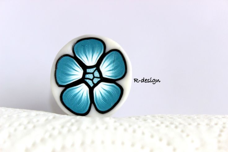 Polymer clay cane turquoise flower millefiori cane R-design