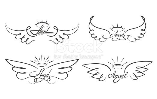 Angel wings drawing vector illustration. Winged angelic tattoo icons….