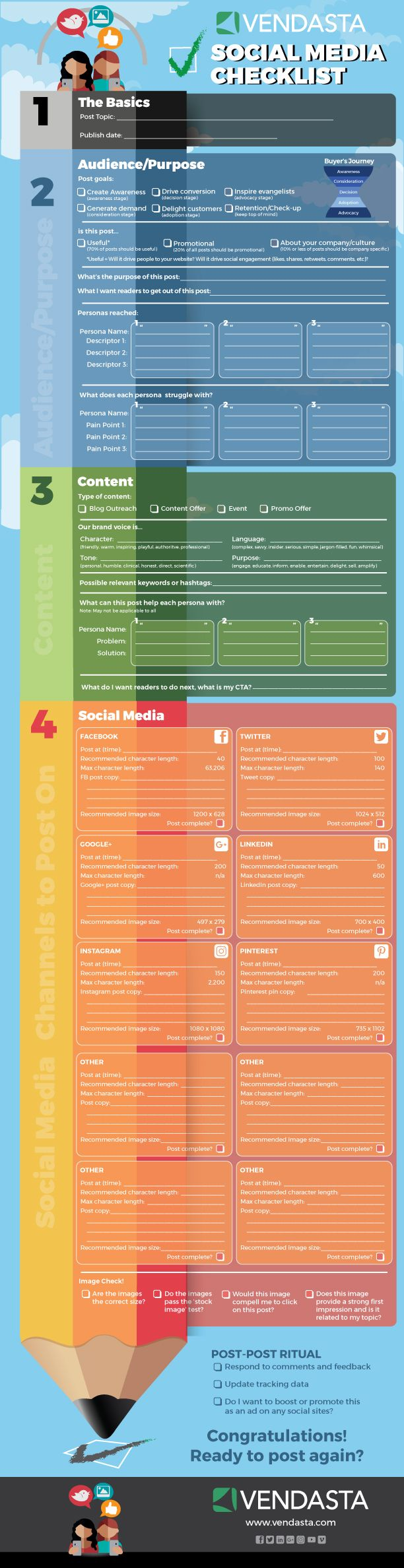 [Printable Infographic] The Ultimate Social Media Checklist. The gift that keeps on giving! Use each time or laminate and re-use. What a great idea!