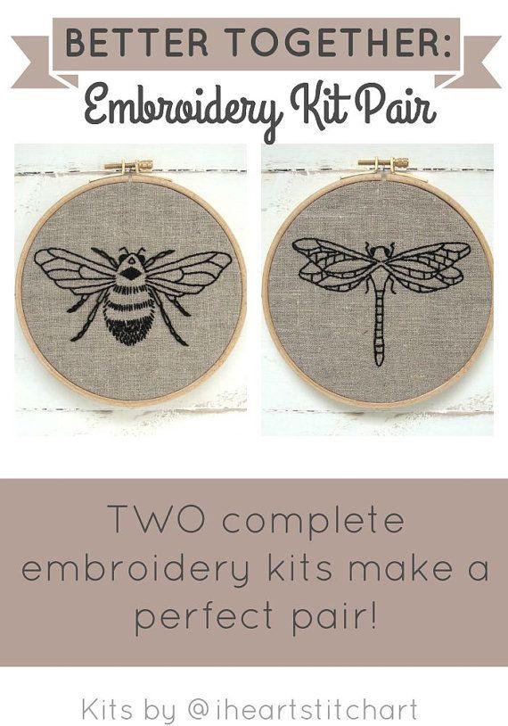 PAIRE de Kit de broderie, broderie abeille, broderie libellule, art de la broderie bricolage de cerceau, apprendre à broder, motifs de broderie main moderne
