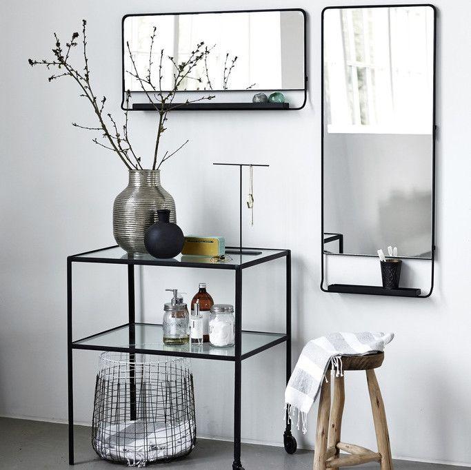 185 house doctor black framed mirror with shelf vertical 45 x 110cm