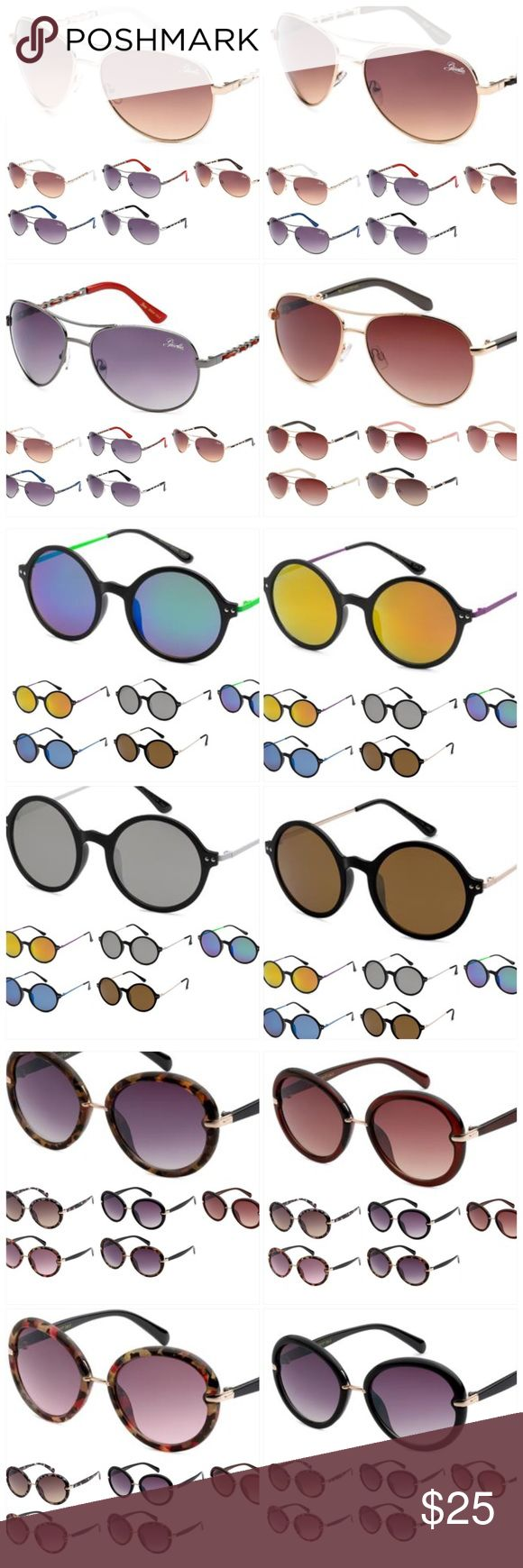 Weekend Sale 3 Sunglasses for 25.00 Grab bag 3 Pairs of Sunglasses for 25.00 Grab Bag. You will receive 3 different pairs of sunglasses. 400UV protection. These are all brand new Accessories Sunglasses