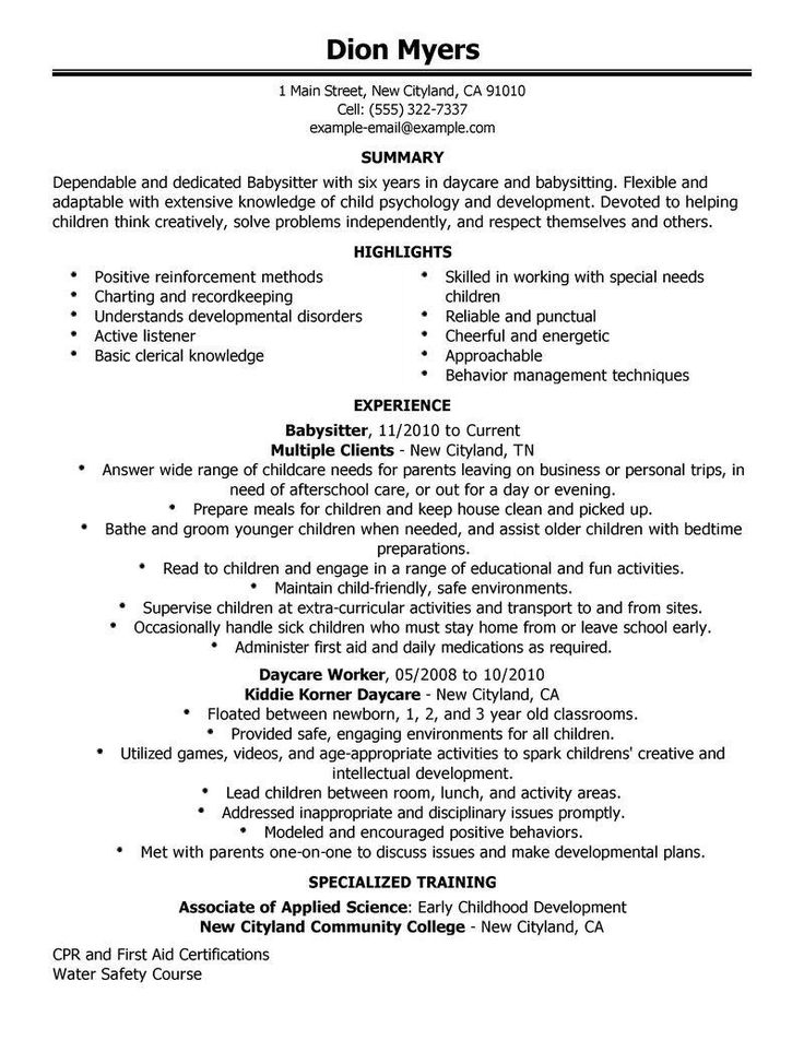 Best cover letter for nanny or babysitter Find information for - babysitting on resume example