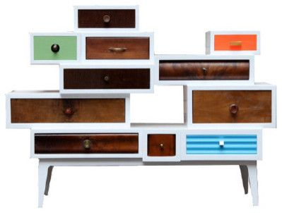 Mid-century modern commode in retro colors