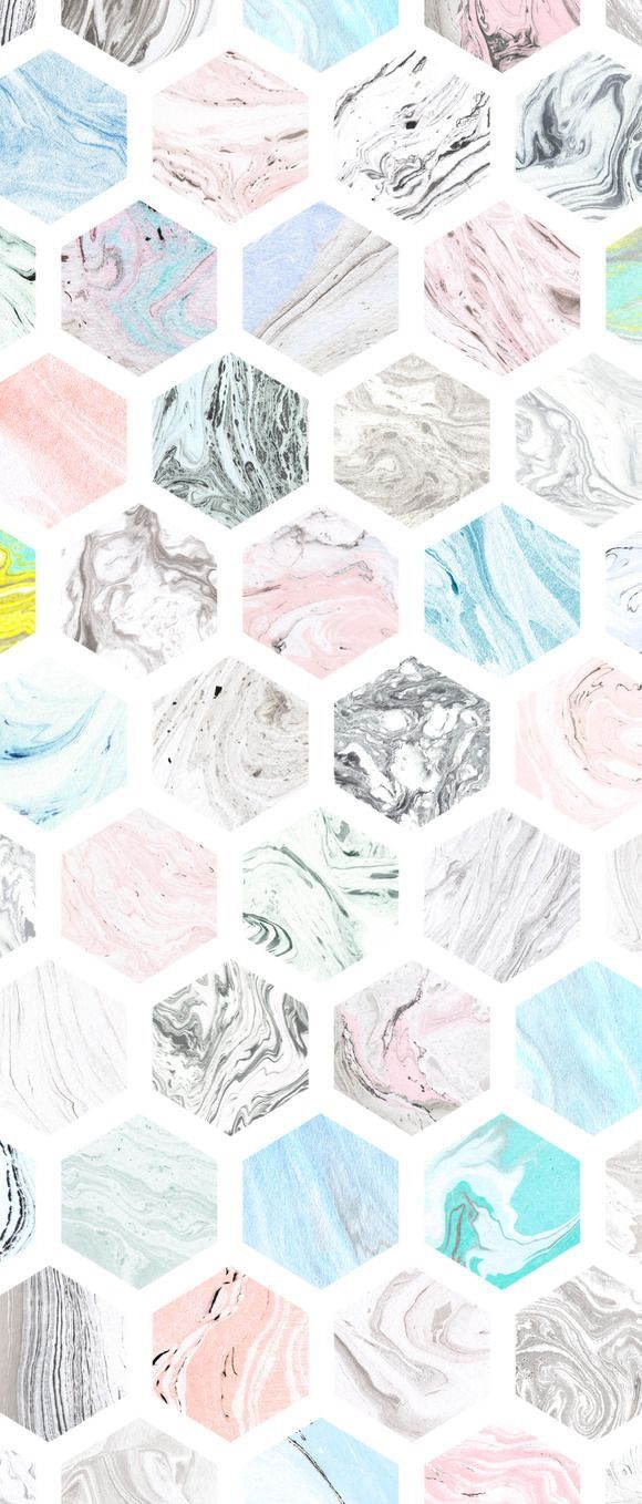Cute Hexagons Pastel iPhone Background