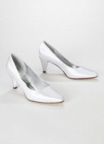 """Simple yet elegant, this dyeablestyle is great for any occasion.  Mid heel pump is on trend and comfortable.  Satin fabric can be dyed to match any of our exclusive colors.  2 3/4"""" heel. Imported.  Dyeable shoes are sold in White as shown. Bring your dyeable shoes to your local David's Bridal Store to have them dyed in any of our exclusive colors. About Dyeable Shoes."""