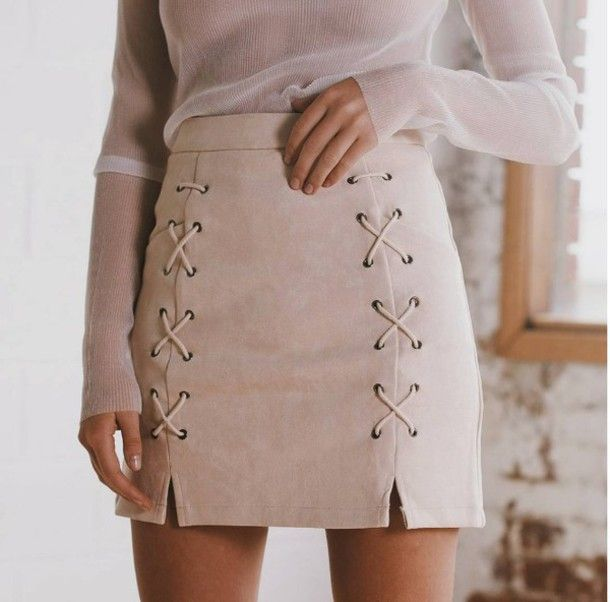Skirt: mini suede lace up girly girl girly wishlist mini suede lace up nude