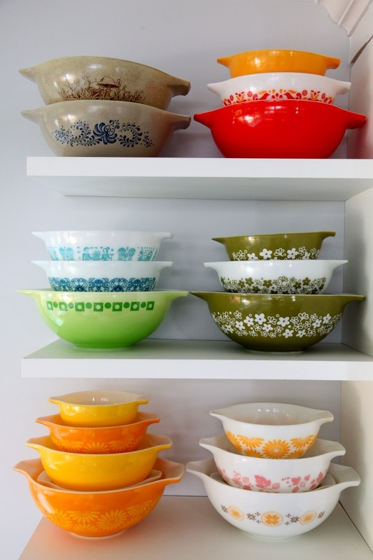 I love these vintage Pyrex bowls, and I still kind of regret letting my mom buy the pair (look like the 2nd row, right stack) we found at Goodwill!