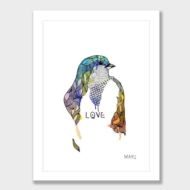 Watercolour Bird Art Print by Makus Art