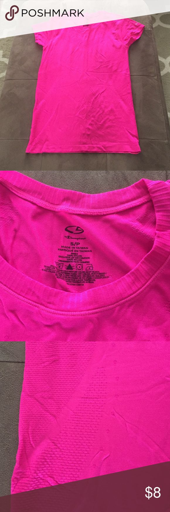Neon pink workout shirt Like new, hot pink vented workout shirt. Bought this at target last summer, took off the tags and never wore. Super cute short with no flaws! Champion Tops Tees - Long Sleeve