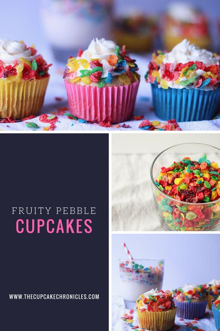 Fruity Pebbles cupcakes with a cereal milk buttercream frosting! Click through for full recipe!