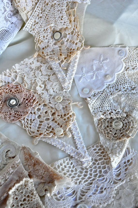 Vintage Lace and Linen bunting- Wedding -Shabby Chic Decor- photo booth prop- Recycled Vintage Flags on Etsy, $25.00