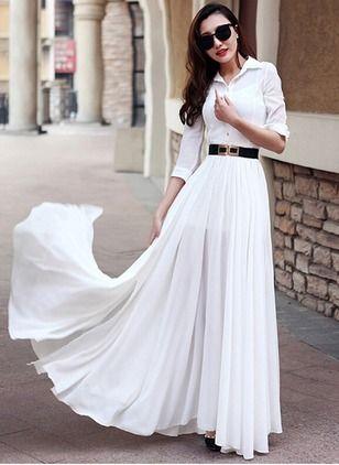Chiffon Solid 1000191/1000191 Sleeves Maxi Casual Dresses (1000191) @ floryday.com