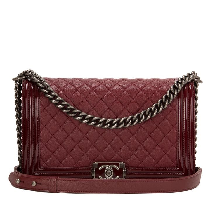 #Chanel Burgundy Goatskin New Medium Boy #Bag With Patent Trim
