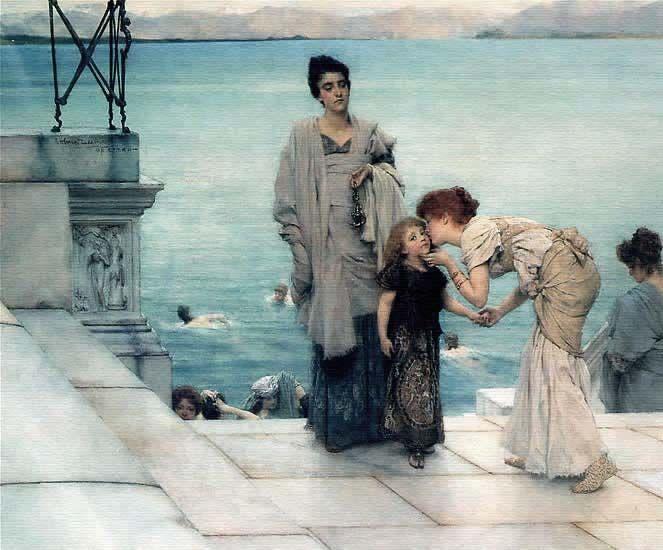 Cuadro británico estilo académico Lawrence Alma-Tadema, artista inglés nacido en Holanda, 1836-1912.