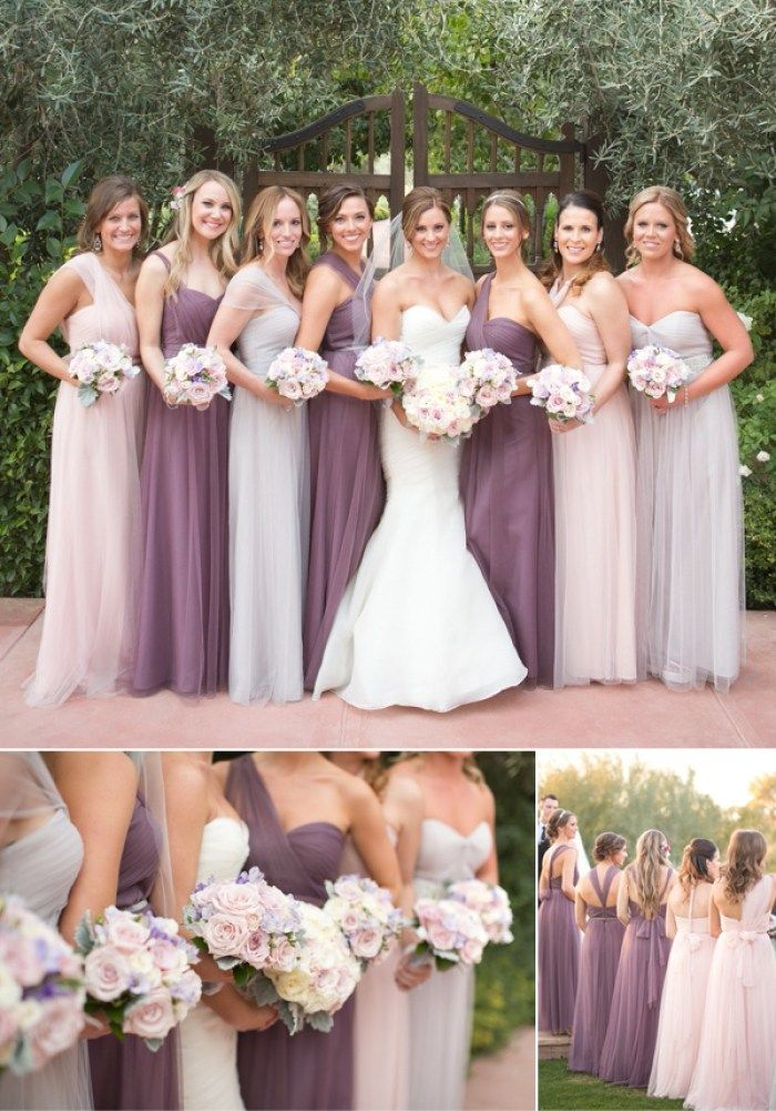 These bridesmaid dresses are fabulous!! Mismatched bridesmaid dresses on purple …