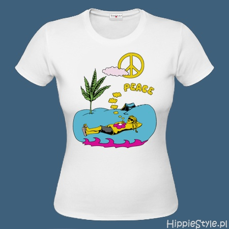 koszulka T-shirt kolorowa PEACE ŁĄKA
