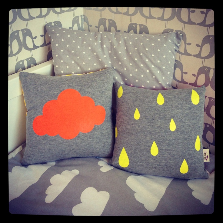 Grey and neon cushions from Ferm Living!