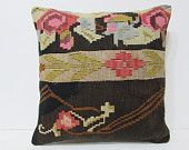 20x20 kilim pillow 20x20 floral decorative pillow floral throw pillow black cushion cover euro pillow cover 50x50 cushion cover flower 24061
