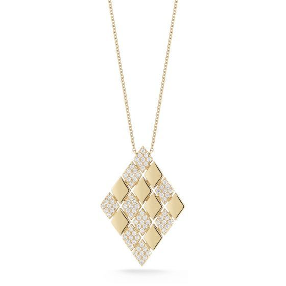Staggered diamond and yellow gold diamond-shaped frames work to create an unbeatable statement piece. Elevate an everyday look or accent your favorite LBD by letting this piece speak for itself - either way, you won't want to take it off.