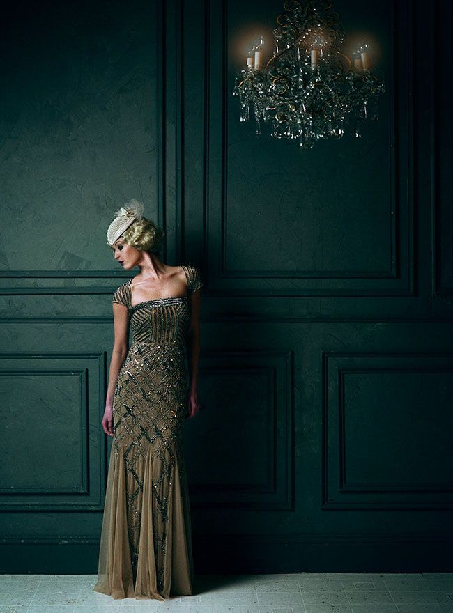 Love this gold and black beaded gown for a 20s wedding or party!