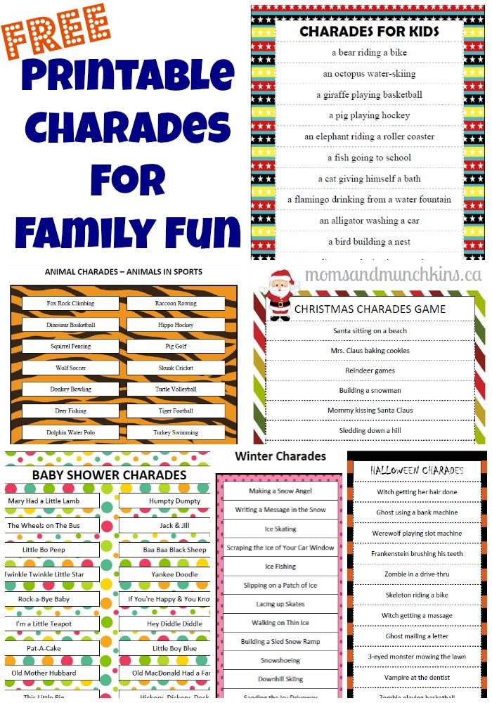picture regarding Charades for Kids Printable named Great Designs for the video game charades
