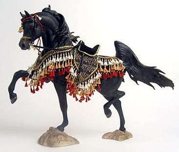 Black Arabian breyer horse ~ A ~ MAZ ~ING resin with a knockout costume!