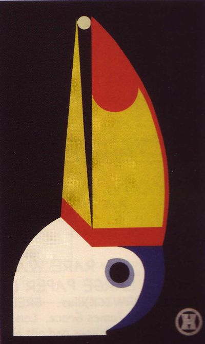 In 1929, graphic designer Carl Ernst Hinkefuss (1881-1970) published, Mein Vogel Paradies (My Bird Paradise), a tie-bound modern block book for children featuring stunning color lithographs depicting abstracted forms of birds reduced to their fundamental forms, accompanied by verse about each individual bird, both text (printed in silver ink) and images printed on black paper. A two-page introduction by Hinkefuss encourages children to create their own pictures based upon his simple designs.