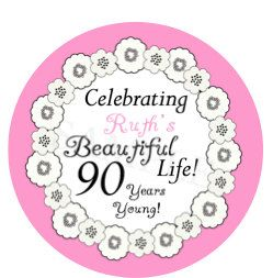 90th Birthday Stickers. Set of 20 Stickers. by ateasypeasydesigns