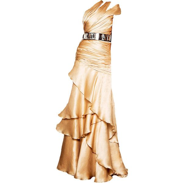 CarlosMiele-editedbyelfemme ❤ liked on Polyvore featuring dresses, gowns, long dresses, beige gown, beige dress, beige evening dress and beige evening gown