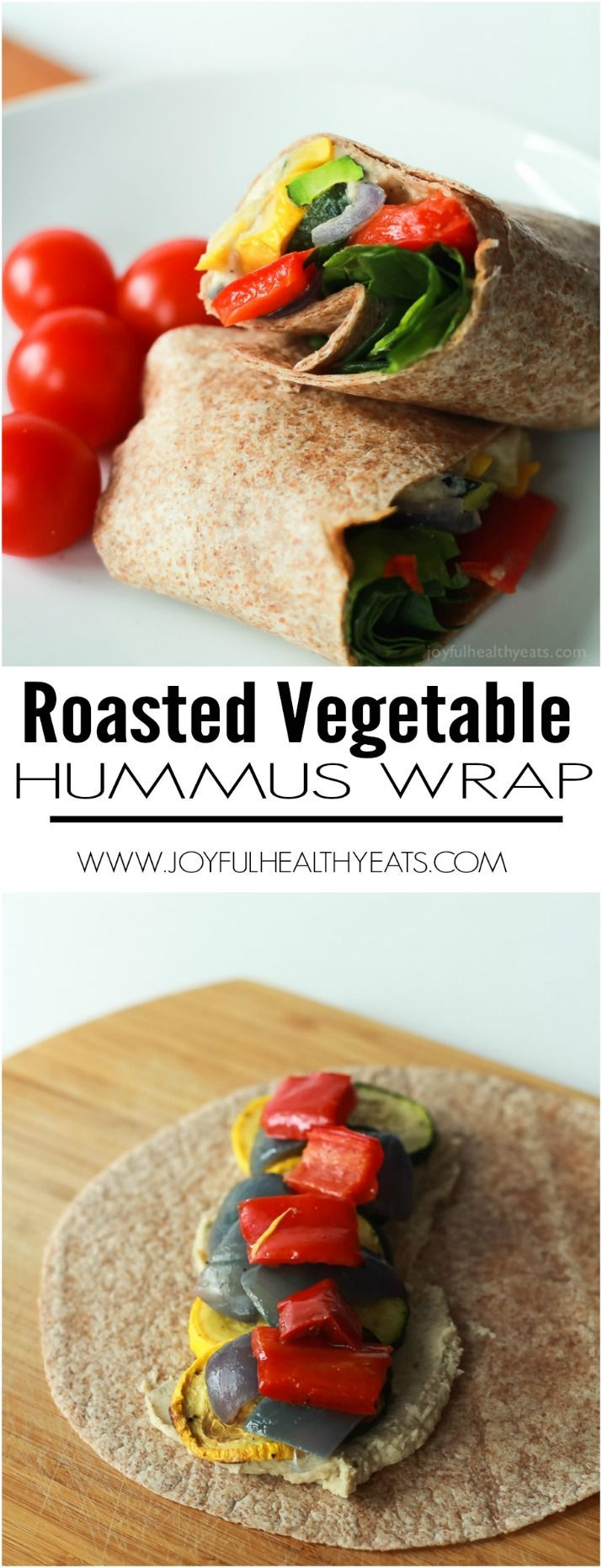 Healthy + Easy Roasted Vegetable Wraps with a Roasted Garlic White Bean Hummus, this is seriously an amazing low calorie option! | www.joyfulhealthyeats.com #eathealthy #recipes