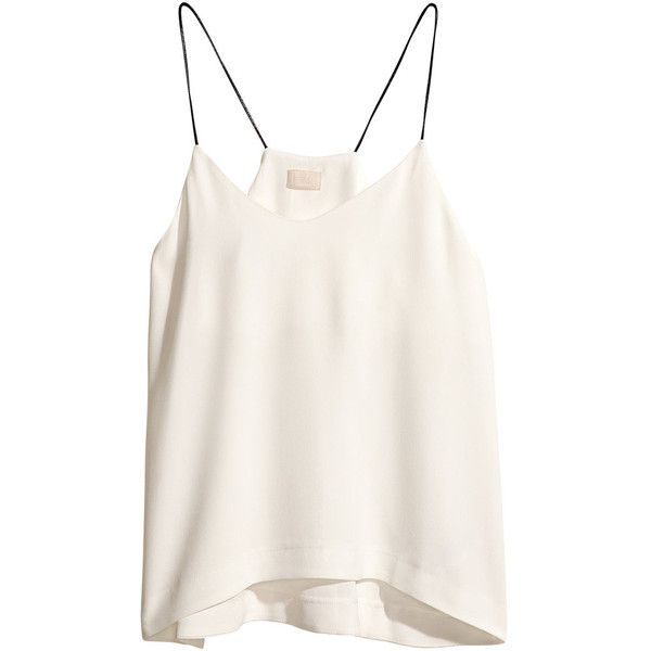 H&M Viscose top ($13) ❤ liked on Polyvore featuring tops, shirts, tank tops, tanks, natural white, white tank top, white woven shirt, flare shirts, white top and shirt top
