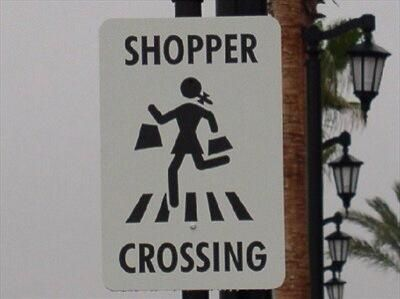 Stick figure shoppers suddenly sprout pony tail and skirt (thanks @RogueTrina!)