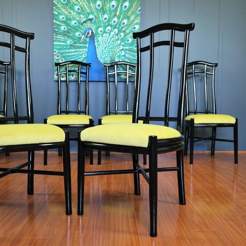 1970s/80s Black Lacquer Chinoiserie Pagoda Dining Chairs :: Set of 6