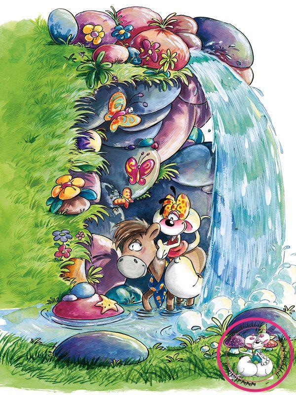 diddlina en galupy onder een waterval