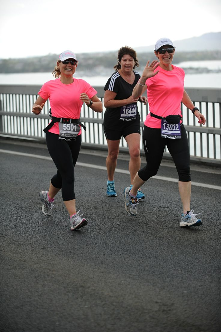 Running across the Auckland harbour bridge with client and best buddy Lee