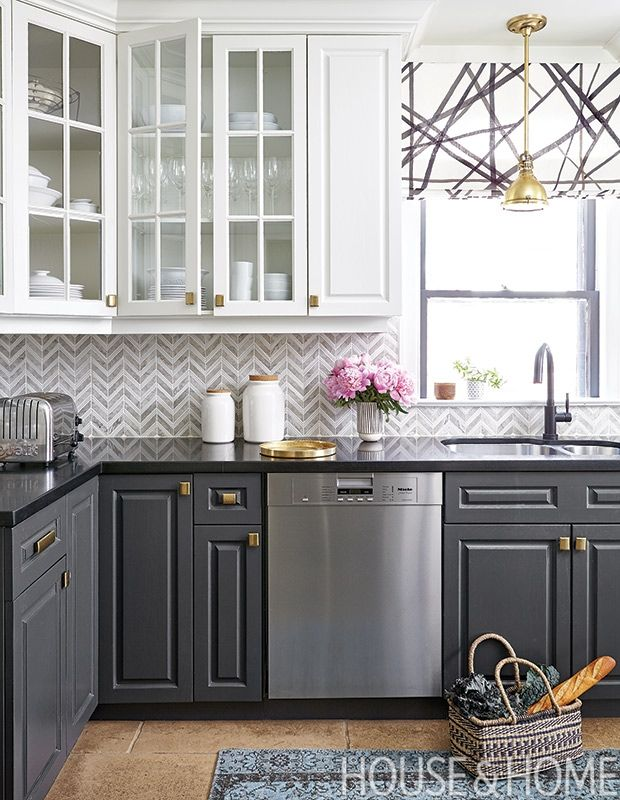 Highly patterned backsplashes have been riding a wave of popularity, but this marble chevron version by Feasby & Bleeks is easy on the eyes so the owners of this kitchen won't tire of it. | Designer: Feasby & Bleeks Design Photographer: Donna Griffith