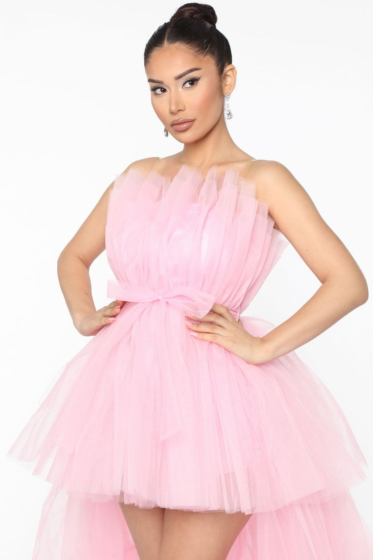 Exclusive After Party Tulle Maxi Dress Pink Tulle